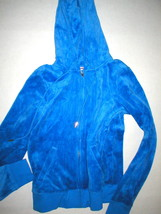 New Womens Small Juicy Couture Velour Hoodie Blue Jacket Pretty S Bright - $40.00