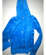 New Womens Small Juicy Couture Velour Hoodie Blue Jacket Pretty S Bright - $32.00