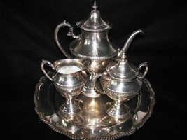 ANTIQUE WILCOX INTERNATIONAL BERKELEY SILVER TEA  POT CREAMER SUGAR TRAY... - $215.04