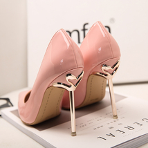 pp195 Charming gold heeled pointy pumps, US Size 4-8.5,nude - $62.80