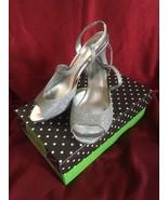 Kelly & Katie Mandy Silver Sparkle Slingback Open Toed Heels US Women's ... - $25.23