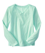 GAP Kids Girls T-shirt Tee Sz S 6 7 Long Sleeve Cute Slub V-neck Mint Gr... - $13.99
