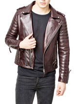 Men's Genuine Leather Quilted Motorcycle Jacket Slim fit Biker Jacket - FC - $109.99