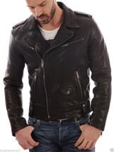 Men's Genuine Lambskin Leather Motorcycle Jacket Slim fit Biker Jacket - FS - $99.99