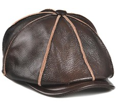 New High-grade first layer Black Brown Cowhide Leather Berets Golf Hat - $44.49