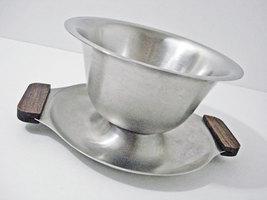 Stainless Steel Wood Handles Gravy Boat Bowl Vintage Interpur Japan  - $13.99