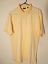 Izod Men's Sz. M Yellow Striped S/S Golf / Polo Shirt 100% Cotton Excell... - $8.01