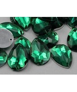 18x13mm Green Emerald CH18 Teardrop Flat Back Sew On Gems For Craft 50 PCS - $5.61