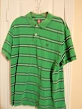 Chaps Men's Size XL Green Striped S/S Polo Shirt 100% Cotton Excellent U... - $9.65