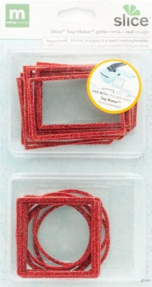 Making Memories Slice Tag Maker Glitter Rims, Red Rouge