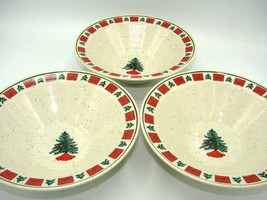 Holiday by FOLKCRAFT Christmas Rim Cereal Bowl 7 3/4 in Tree Red Green E... - $22.73