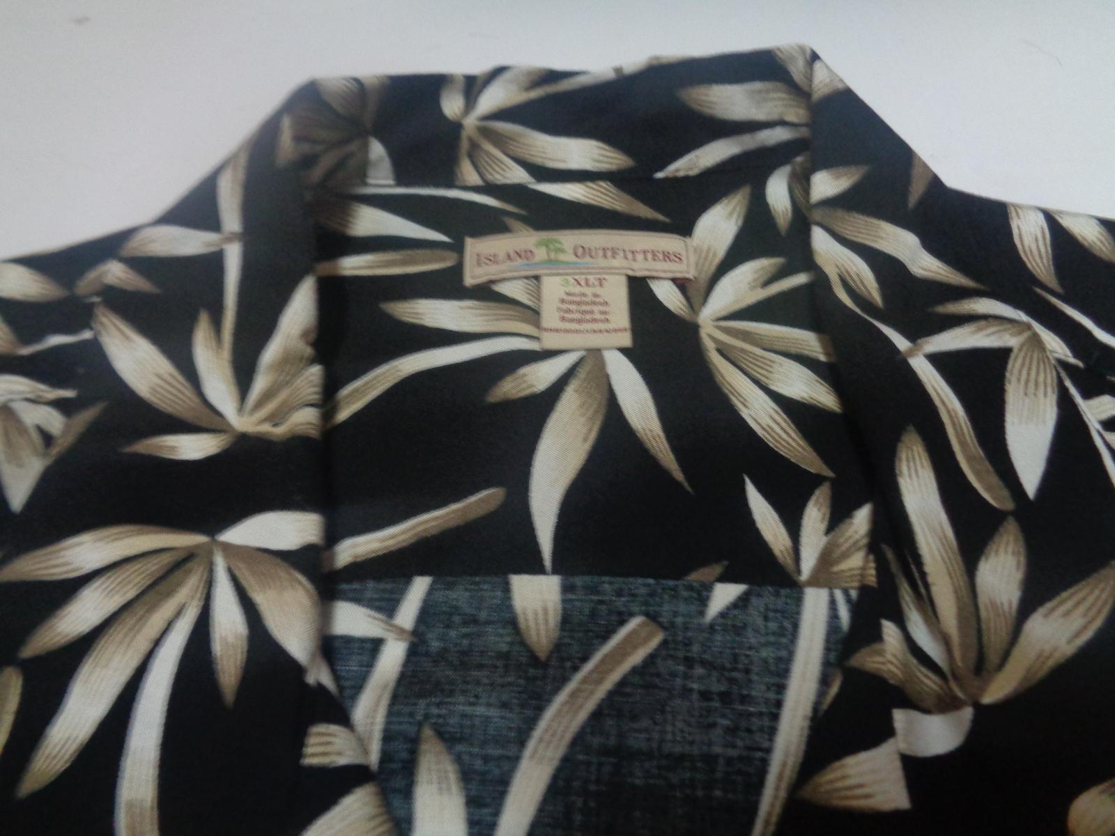 Men's Island Outfitters Hawaii Casual Shirt NWOT Sz XLT Black Palm Tree Pattern