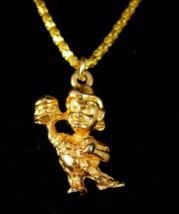 "Vintage Bobs Big Boy necklace Advertising charm 22"" gold plate chain retro novel - $95.00"