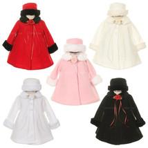 Top Quality Fur Trim Fleece Cape Style Coat Winter Party Flower Girl - $30.00