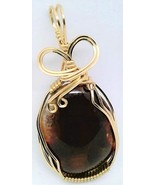 Fire Agate Gold Wire Wrap Pendant 34 - $44.00