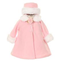 Pink Top Quality Fur Trim Fleece Cape Style Coat Winter Party Flower Girl - $30.00