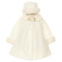 Ivory Top Quality Fur Trim Fleece Cape Style Coat Winter Party Flower Girl - $30.00