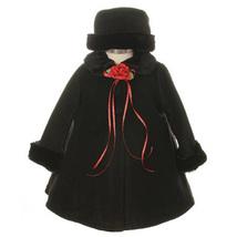 Black Top Quality Fur Trim Fleece Cape Style Coat Winter Party Flower Girl - $30.00