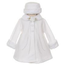 White Top Quality Fur Trim Fleece Cape Style Coat Winter Party Flower Girl - $30.00