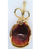 Fire Agate Gold Wire Wrap Pendant 25 - $44.00