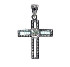 vintage Antique Look 1.4 Ct Rose Cut Diamond Polky Sterling Silver Cross Pendant - $255.97