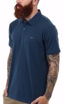 Rvca Sure Thing Boys Youth Short Sleeve Polo Shirt Medium Night Shadow New - $30.00