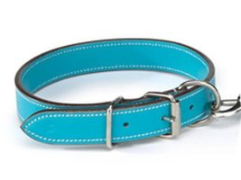 Casual Canine Flat LeaTher Dog Collar, 14 to 18-Inch, Bluebird - $15.83