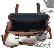 Men's leather vintage laptop backpack rucksack messenger bag satchel women bags image 5