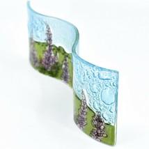 Fused Art Glass Purple Lupine Flower Floral Wavy Sun Catcher Handmade in Ecuador image 2