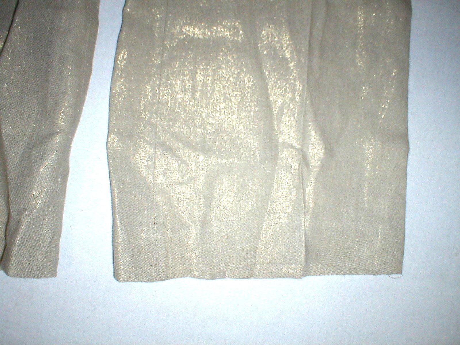 New NWT Womens Italy Designer Blumarine Linen Pants Metallic Gold Tall 28 X 36