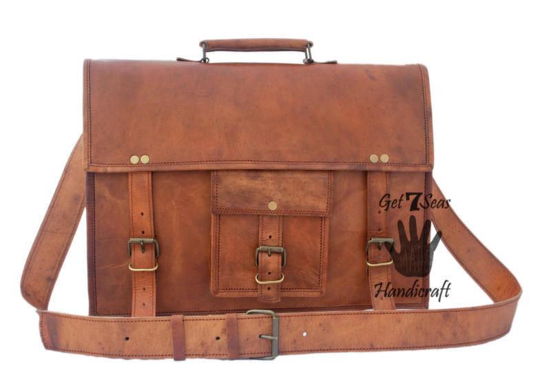 Leather messenger bag men's women satchel briefcase men shoulder laptop vintage