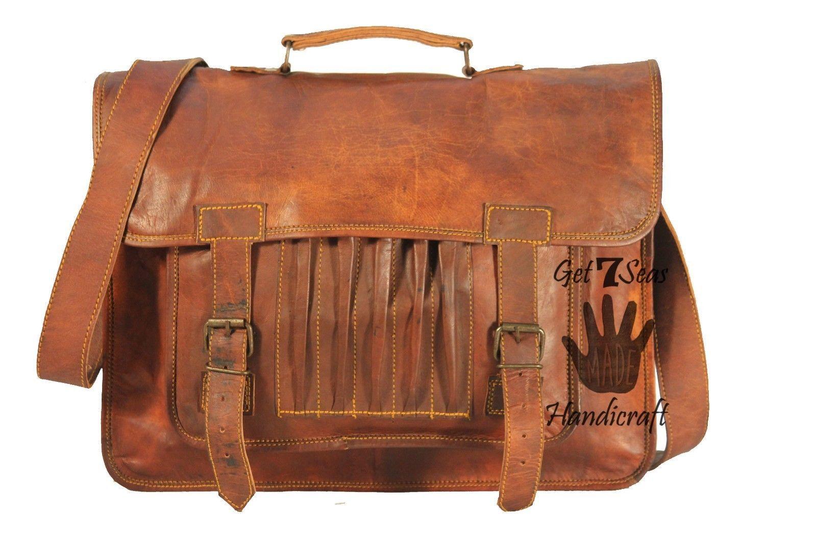 Leather computer bag men's shoulder laptop women briefcase vintage messenger image 4