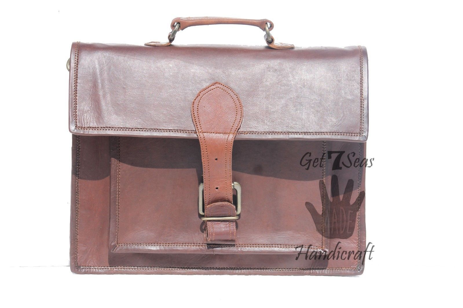Messenger bag leather men's laptop women shoulder satchel briefcase vintage bag image 3