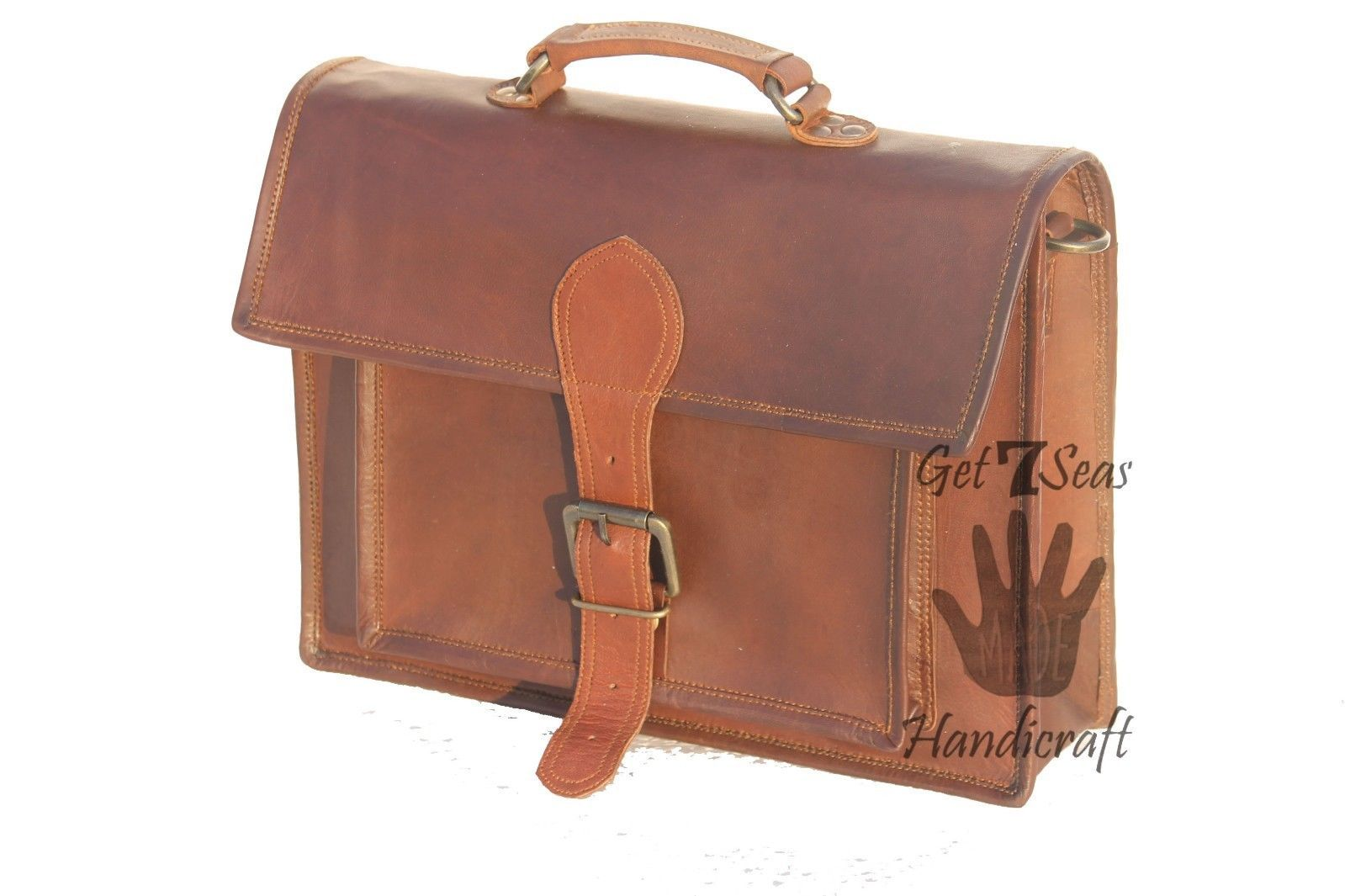 Messenger bag leather men's laptop women shoulder satchel briefcase vintage bag image 6