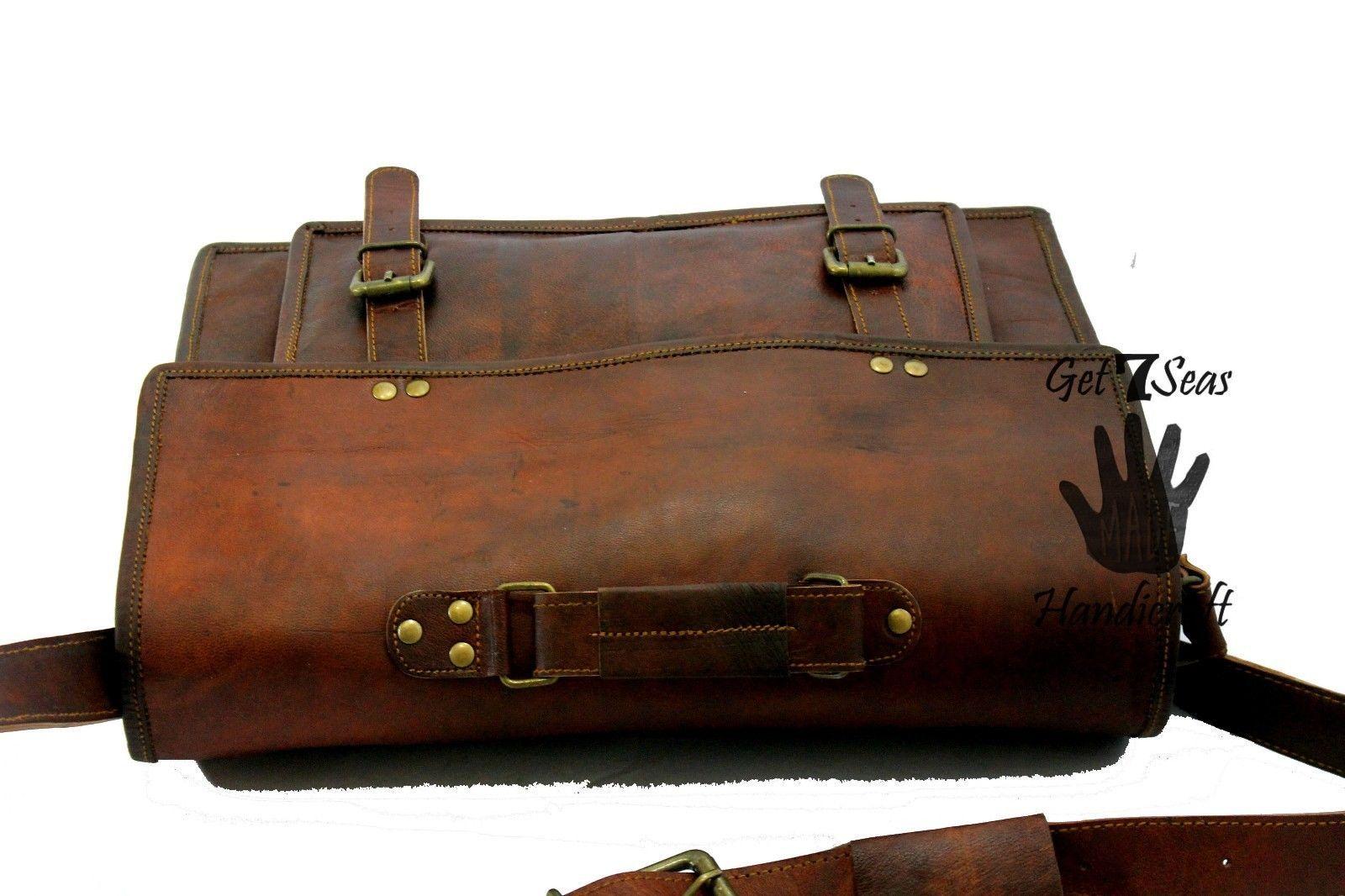 Leather messenger bag men's shoulder women satchel briefcase  laptop men vintage image 6