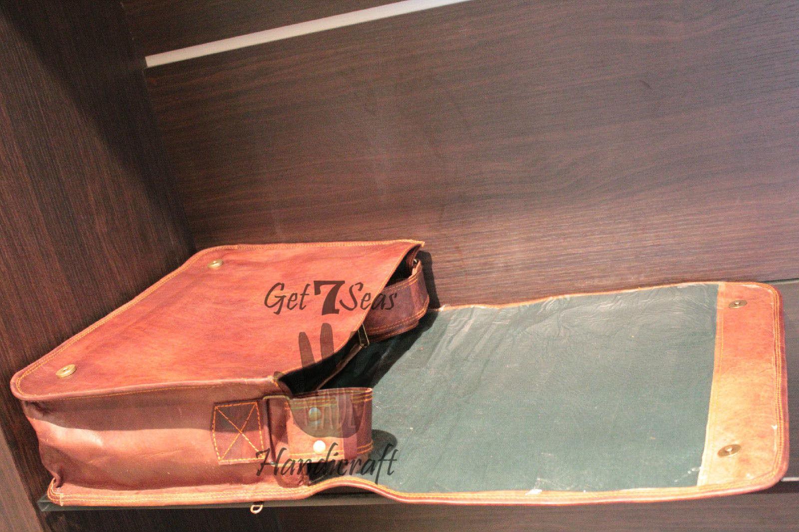 Leather satchel men's shoulder laptop women messenger men briefcase  brown bags image 3