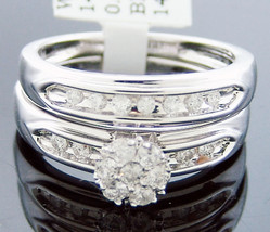 14K White Gold ring round cut diamond engagement wedding bridal 0.45ct size 6.5 - $499.99