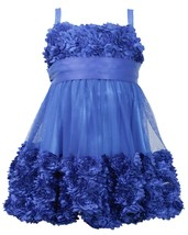 Little Girl 2T-6X Die Cut Bonaz Rosette Bubble Mesh Social Dress, Bonnie Jean