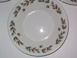 SET of 4 Salad Plates Holly Decoration and gold trim Christmas  - ₨3,440.65 INR