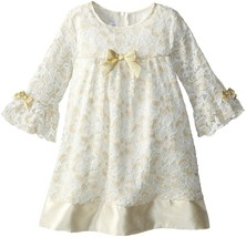 Little Girl 2T-6X Ivory Gold Bell Sleeve Glitter Lace A-Line Shift Dress, Bonnie