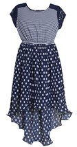 Big Girl Tween 7-16 Blue White Dots Stripes Lace Chiffon High Low Maxi Dress
