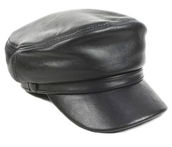 New Men's Black 100% Real Sheepskin Leather Police hat  - $12.87