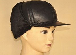Men's Real Sheepskin Leather Black Large Ear Hat /Cheek cap - $19.19