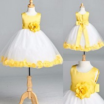 Yellow Satin Rose Petal Dress Summer Spring Flower Girl Birthday Gown Easter #22 - $25.73+