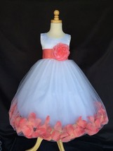 Flower Girl White Tulle Dress ALL SIZES Coral Rose Petal Easter Pageant #24 - $16.82+