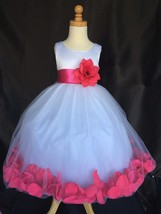 White Flower Girl Tulle Dress ALL SIZES Fuchsia Rose Petals Party Pageant #24 - $16.82+