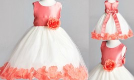 Coral Wedding Bridesmaids Easter Birthday Recital Pageant Flower Girl Dress 22 - $25.73+