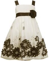 Little Girl 2T-6X Ivory Black Sequin Soutache Border Social Party Dress, Bonnie