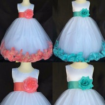 Flower Girl White Tulle Rose Petal Dress Easter Coral or Aqua Toddler Infant #24 - $13.85+