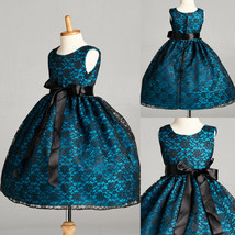 Teal Flower Girl Dress Lace Wedding Recital Holiday Birthday Bridesmaid Party#34 - $26.72